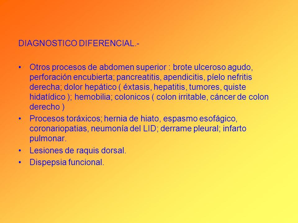 DIAGNOSTICO DIFERENCIAL.- Otros procesos de abdomen superior : brote ulceroso agudo, perforación encubierta; pancreatitis, apendicitis, píelo nefritis