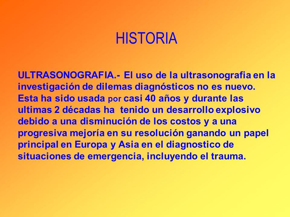 HISTORIA ULTRASONOGRAFIA.- El uso de la ultrasonografia en la investigación de dilemas diagnósticos no es nuevo. Esta ha sido usada por casi 40 años y