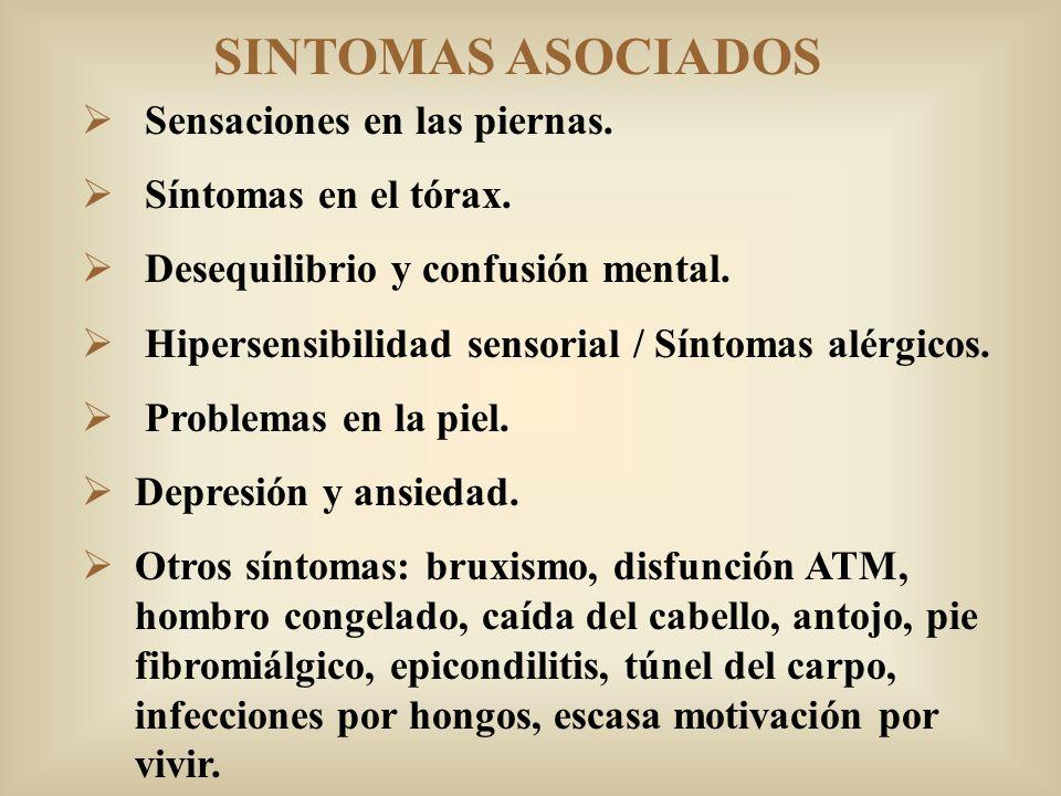 SINTOMAS ASOCIADOS Sensaciones en las piernas. Síntomas en el tórax. Desequilibrio y confusión mental. Hipersensibilidad sensorial / Síntomas alérgico