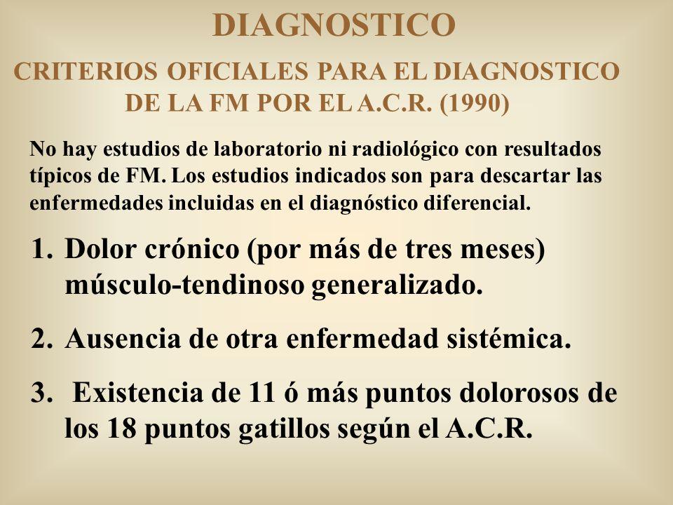 DIAGNOSTICO No hay estudios de laboratorio ni radiológico con resultados típicos de FM. Los estudios indicados son para descartar las enfermedades inc