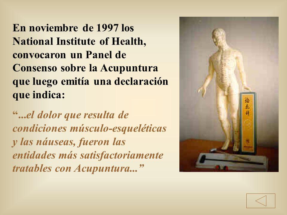 En noviembre de 1997 los National Institute of Health, convocaron un Panel de Consenso sobre la Acupuntura que luego emitía una declaración que indica