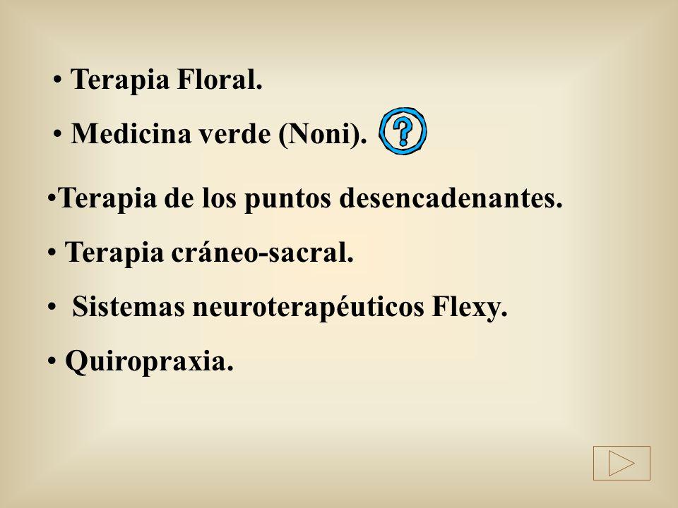 Terapia Floral. Medicina verde (Noni). Terapia de los puntos desencadenantes. Terapia cráneo-sacral. Sistemas neuroterapéuticos Flexy. Quiropraxia.