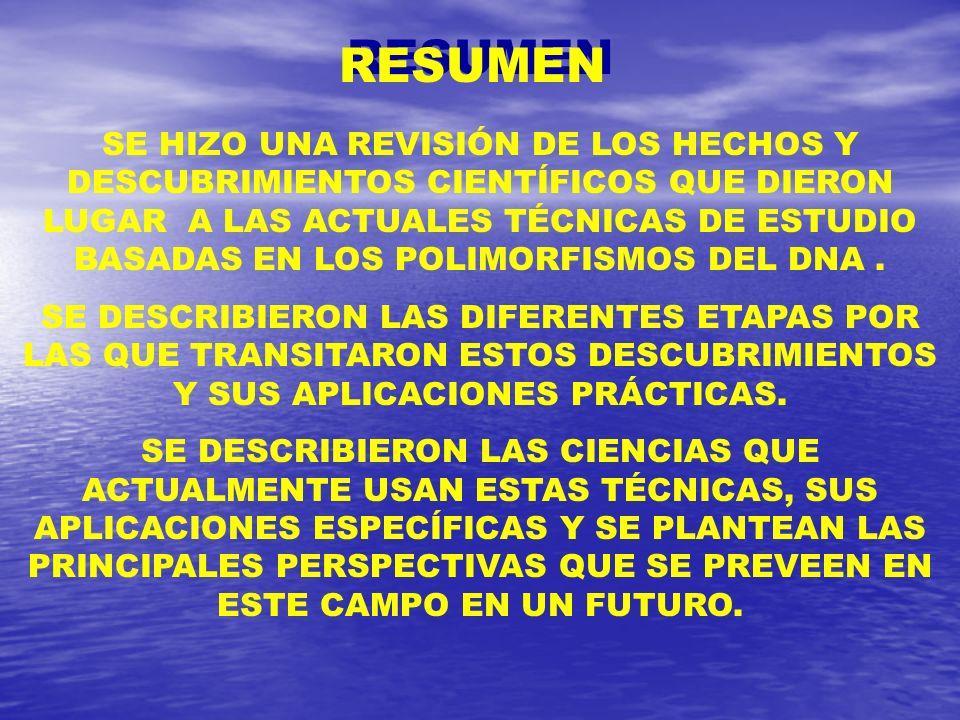 RESUMEN SE HIZO UNA REVISIÓN DE LOS HECHOS Y DESCUBRIMIENTOS CIENTÍFICOS QUE DIERON LUGAR A LAS ACTUALES TÉCNICAS DE ESTUDIO BASADAS EN LOS POLIMORFIS