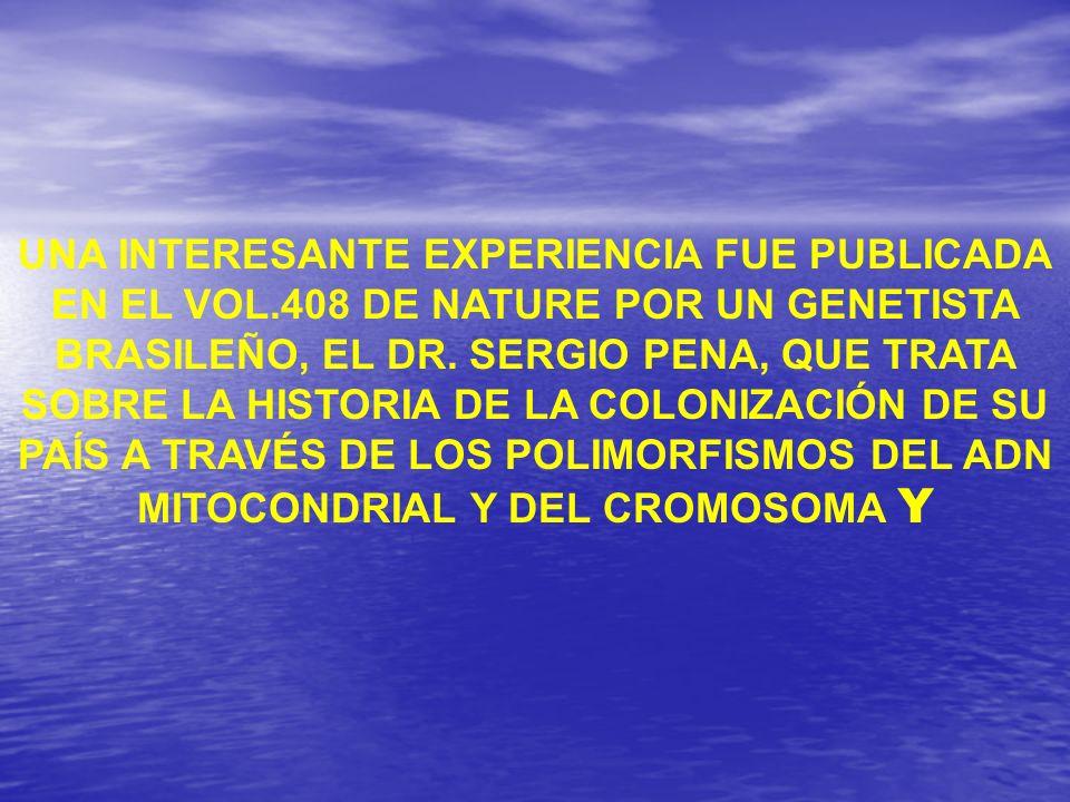 UNA INTERESANTE EXPERIENCIA FUE PUBLICADA EN EL VOL.408 DE NATURE POR UN GENETISTA BRASILEÑO, EL DR. SERGIO PENA, QUE TRATA SOBRE LA HISTORIA DE LA CO