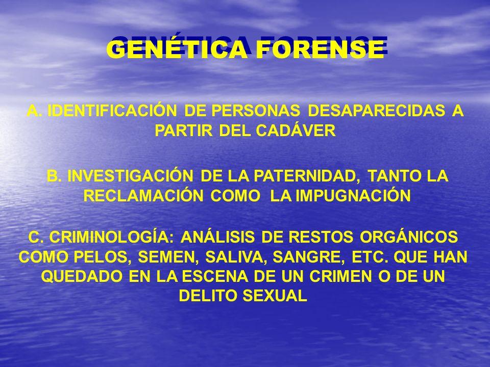 A. IDENTIFICACIÓN DE PERSONAS DESAPARECIDAS A PARTIR DEL CADÁVER B. INVESTIGACIÓN DE LA PATERNIDAD, TANTO LA RECLAMACIÓN COMO LA IMPUGNACIÓN C. CRIMIN