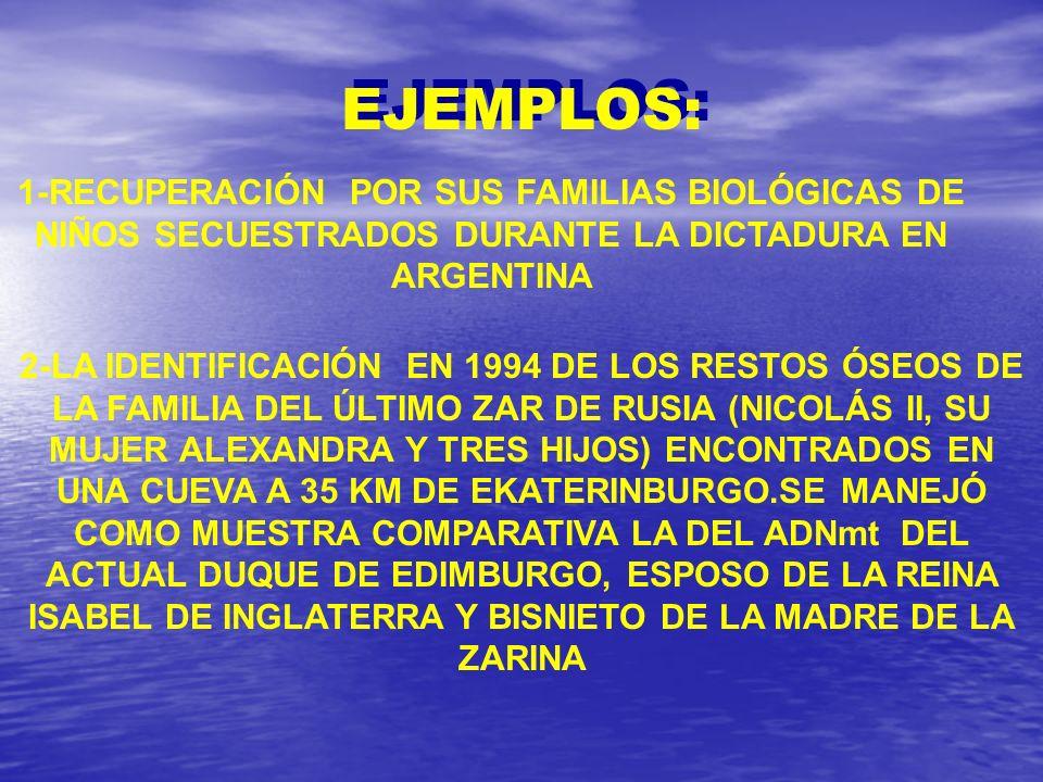 EJEMPLOS: 1-RECUPERACIÓN POR SUS FAMILIAS BIOLÓGICAS DE NIÑOS SECUESTRADOS DURANTE LA DICTADURA EN ARGENTINA 2-LA IDENTIFICACIÓN EN 1994 DE LOS RESTOS