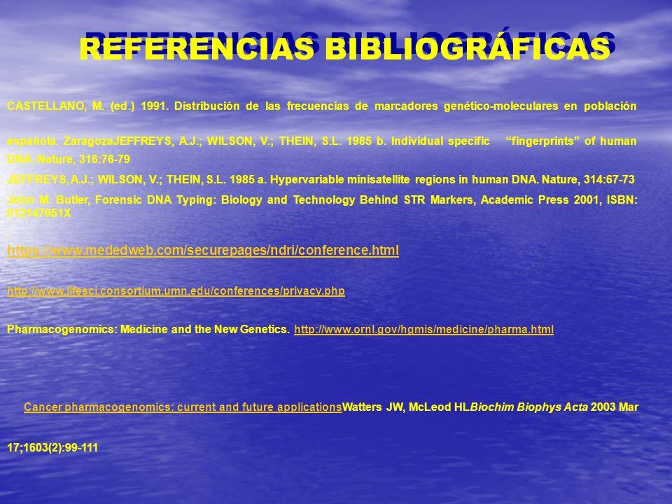 REFERENCIAS BIBLIOGRÁFICAS CASTELLANO, M. (ed.) 1991. Distribución de las frecuencias de marcadores genético-moleculares en población española. Zarago