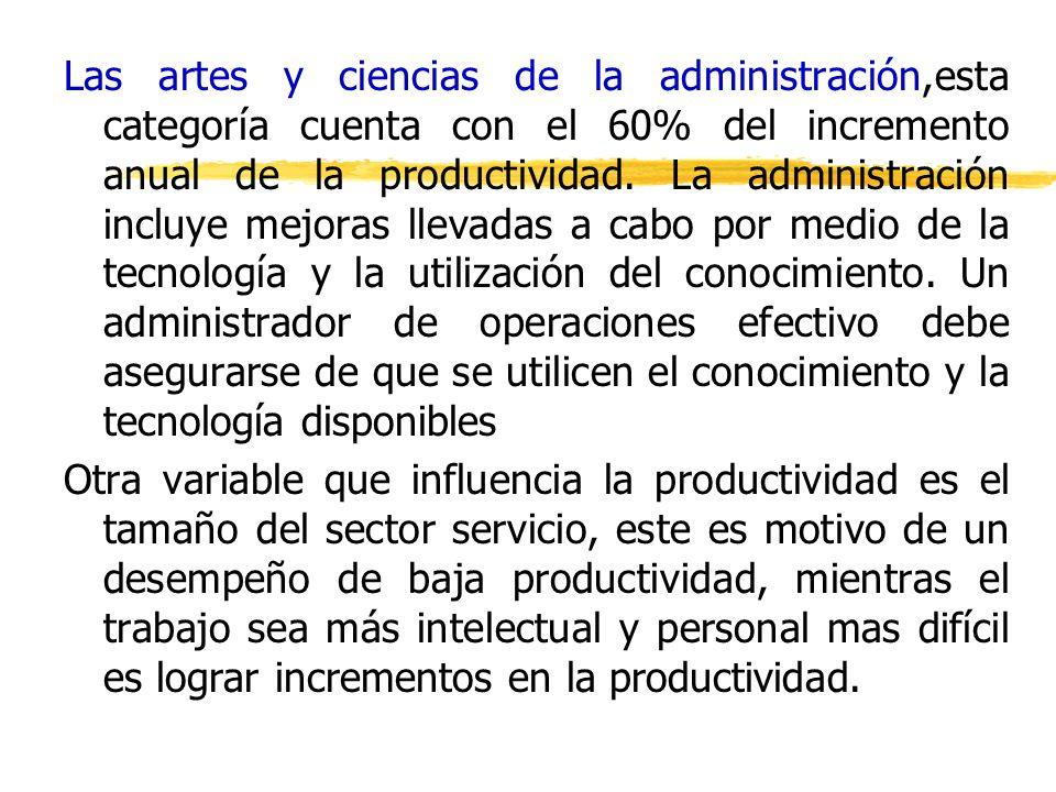 Las artes y ciencias de la administración,esta categoría cuenta con el 60% del incremento anual de la productividad. La administración incluye mejoras