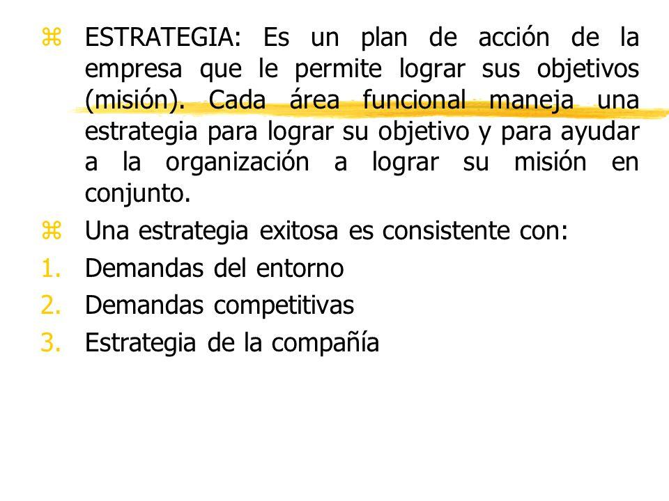 zESTRATEGIA: Es un plan de acción de la empresa que le permite lograr sus objetivos (misión). Cada área funcional maneja una estrategia para lograr su