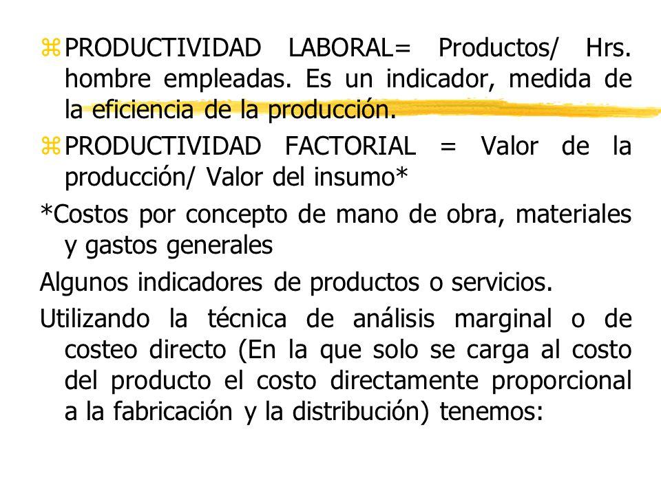 zPRODUCTIVIDAD LABORAL= Productos/ Hrs. hombre empleadas. Es un indicador, medida de la eficiencia de la producción. zPRODUCTIVIDAD FACTORIAL = Valor