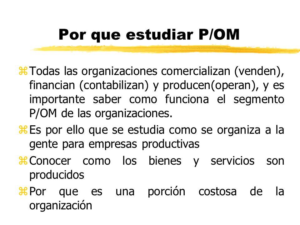 Por que estudiar P/OM zTodas las organizaciones comercializan (venden), financian (contabilizan) y producen(operan), y es importante saber como funcio