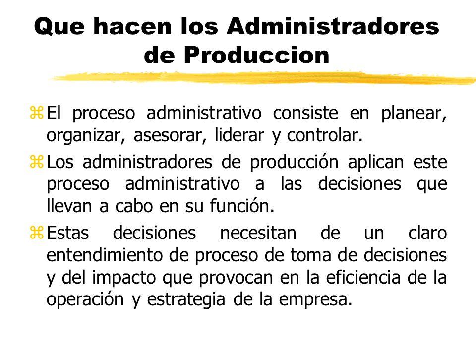 Que hacen los Administradores de Produccion zEl proceso administrativo consiste en planear, organizar, asesorar, liderar y controlar. zLos administrad