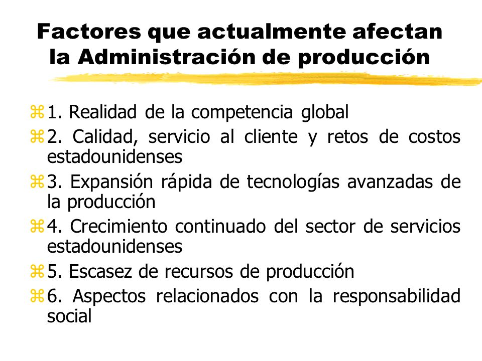 Factores que actualmente afectan la Administración de producción z1. Realidad de la competencia global z2. Calidad, servicio al cliente y retos de cos