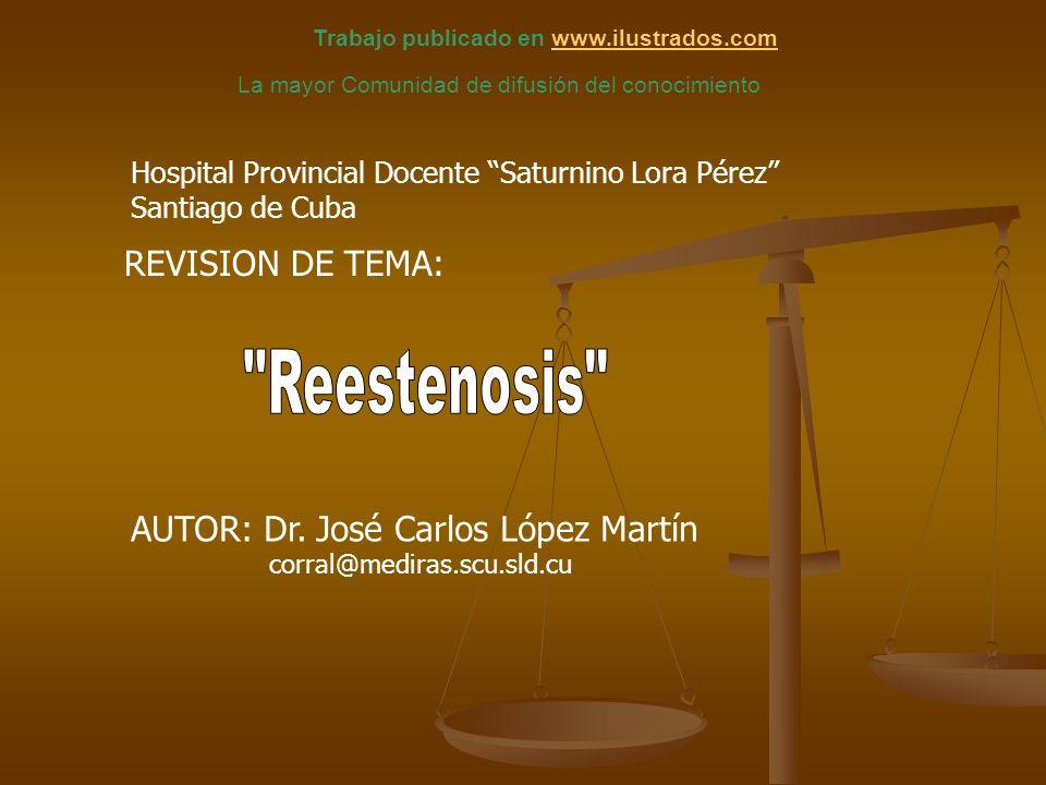 Reestenosis es un proceso biológico de La Reestenosis es un proceso biológico de cicatrización vascular en respuesta a un daño mecánico o físico producido por la insuflación del balón de Angioplastia u otro dispositivo percutáneo.