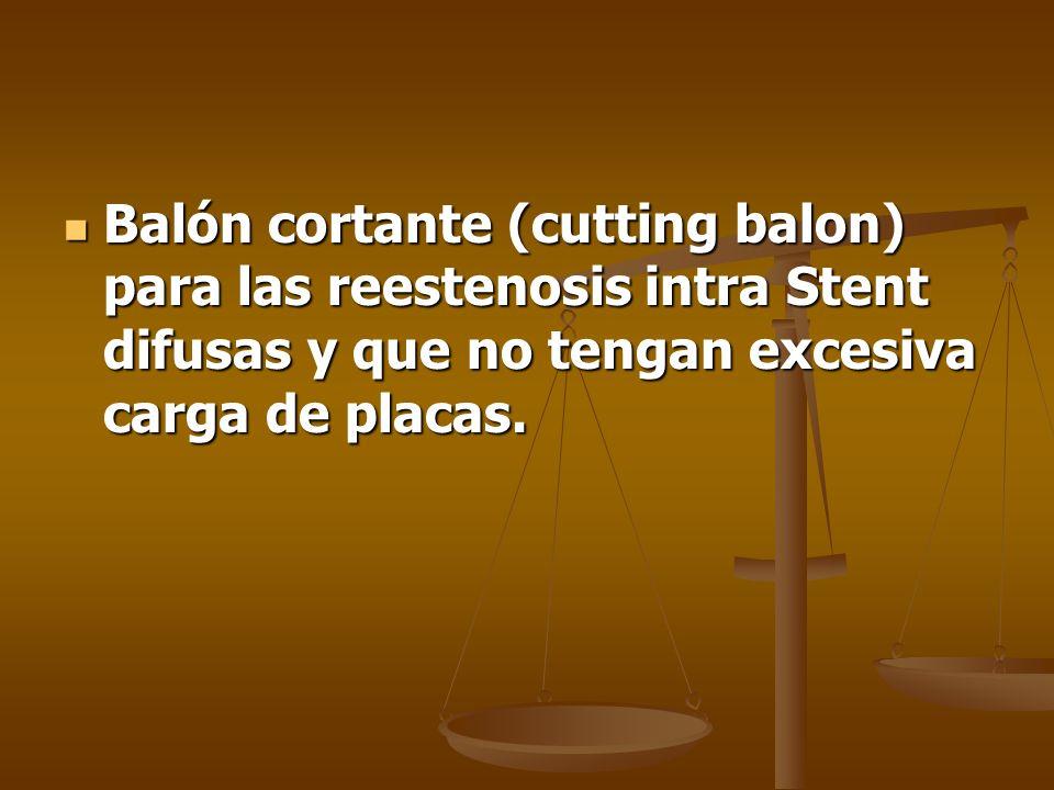 Balón cortante (cutting balon) para las reestenosis intra Stent difusas y que no tengan excesiva carga de placas. Balón cortante (cutting balon) para