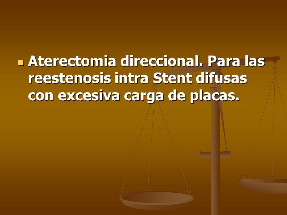 Aterectomia direccional. Para las reestenosis intra Stent difusas con excesiva carga de placas. Aterectomia direccional. Para las reestenosis intra St