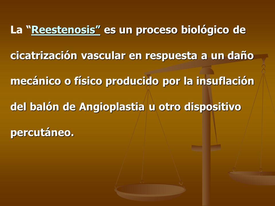 Definición Angiografica de Reestenosis: Diámetro de la estenosis mayor o igual al 50 % en el seguimiento del paciente.