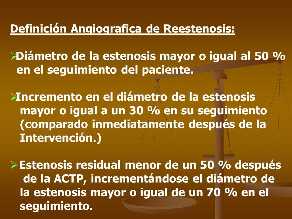 Definición Angiografica de Reestenosis: Diámetro de la estenosis mayor o igual al 50 % en el seguimiento del paciente. Incremento en el diámetro de la
