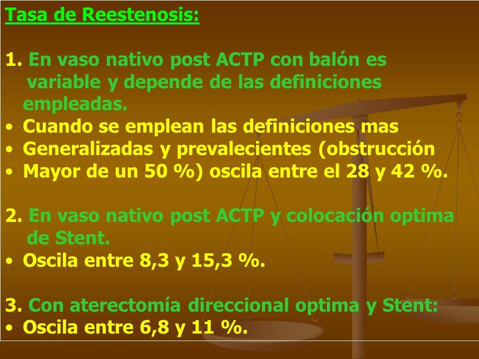 Tasa de Reestenosis: 1. En vaso nativo post ACTP con balón es variable y depende de las definiciones empleadas. Cuando se emplean las definiciones mas