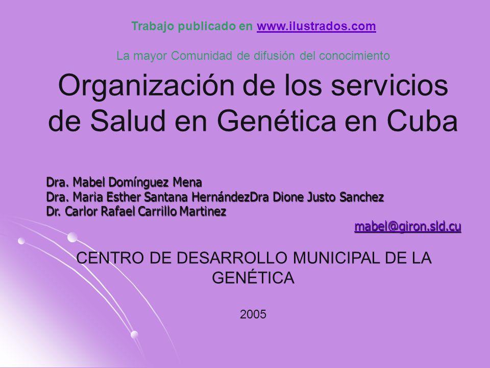 Es importante que usted conozca que la actividad de la Genética Medica en Cuba, iniciada como especialidad después de 1959, se revitalizó a mediados de la década de los 80, con la formulación del Programa Cubano para la Prevención de Malformaciones Congénitas y Enfermedades Hereditarias y la extensión de servicios de Genética Clínica a todas las provincias del país.