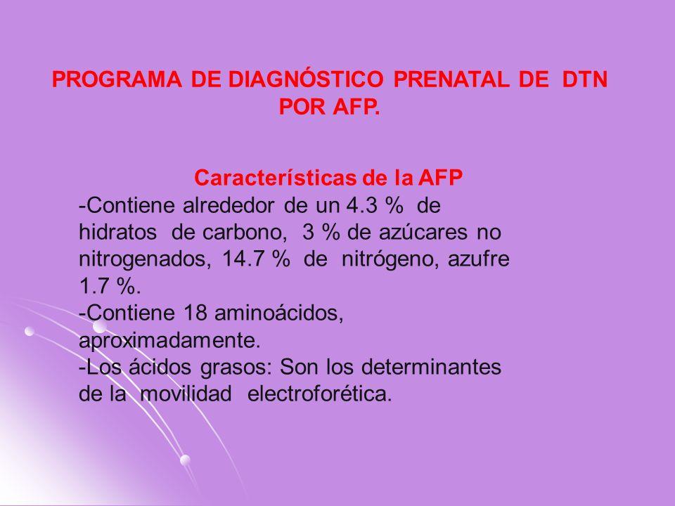 Características de la AFP -Contiene alrededor de un 4.3 % de hidratos de carbono, 3 % de azúcares no nitrogenados, 14.7 % de nitrógeno, azufre 1.7 %.