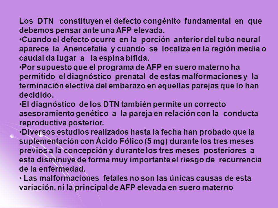Los DTN constituyen el defecto congénito fundamental en que debemos pensar ante una AFP elevada. Cuando el defecto ocurre en la porción anterior del t