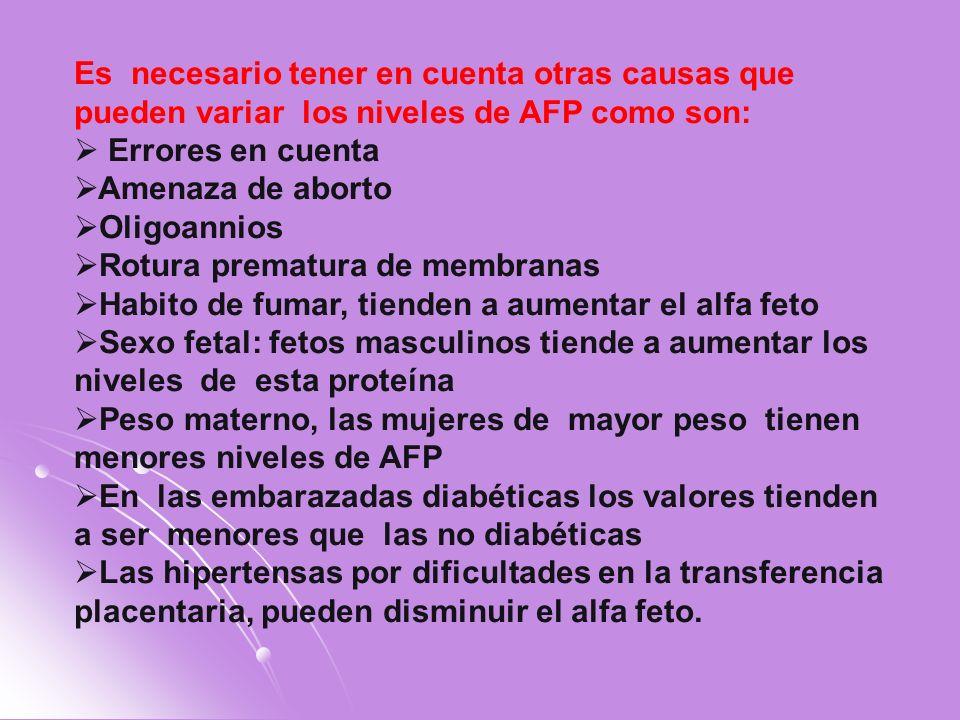 Es necesario tener en cuenta otras causas que pueden variar los niveles de AFP como son: Errores en cuenta Amenaza de aborto Oligoannios Rotura premat