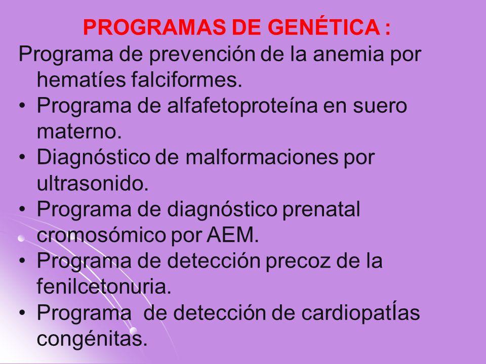 PROGRAMAS DE GENÉTICA : Programa de prevención de la anemia por hematíes falciformes. Programa de alfafetoproteína en suero materno. Diagnóstico de ma