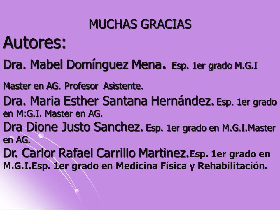 MUCHAS GRACIAS Autores: Dra. Mabel Domínguez Mena. Esp. 1er grado M.G.I Master en AG. Profesor Asistente. Dra. Maria Esther Santana Hernández. Esp. 1e