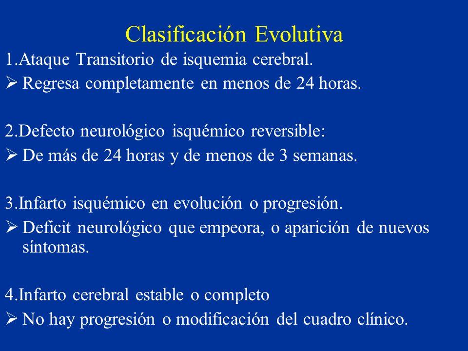 Clasificación Evolutiva 1.Ataque Transitorio de isquemia cerebral. Regresa completamente en menos de 24 horas. 2.Defecto neurológico isquémico reversi