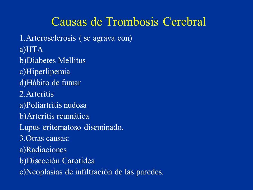 Causas de Trombosis Cerebral 1.Arterosclerosis ( se agrava con) a)HTA b)Diabetes Mellitus c)Hiperlipemia d)Hábito de fumar 2.Arteritis a)Poliartritis