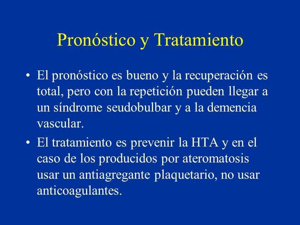 Pronóstico y Tratamiento El pronóstico es bueno y la recuperación es total, pero con la repetición pueden llegar a un síndrome seudobulbar y a la deme