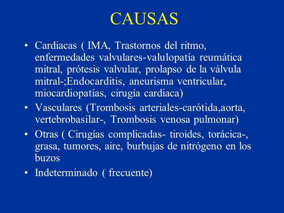 CAUSAS Cardiacas ( IMA, Trastornos del ritmo, enfermedades valvulares-valulopatía reumática mitral, prótesis valvular, prolapso de la válvula mitral-;