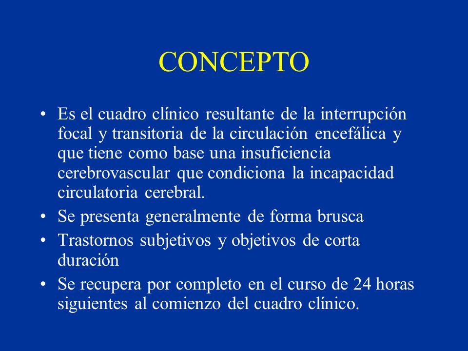 CONCEPTO Es el cuadro clínico resultante de la interrupción focal y transitoria de la circulación encefálica y que tiene como base una insuficiencia c