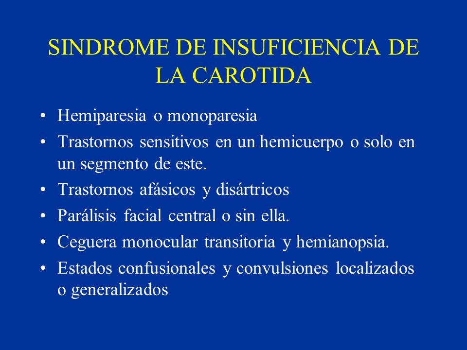 SINDROME DE INSUFICIENCIA DE LA CAROTIDA Hemiparesia o monoparesia Trastornos sensitivos en un hemicuerpo o solo en un segmento de este. Trastornos af