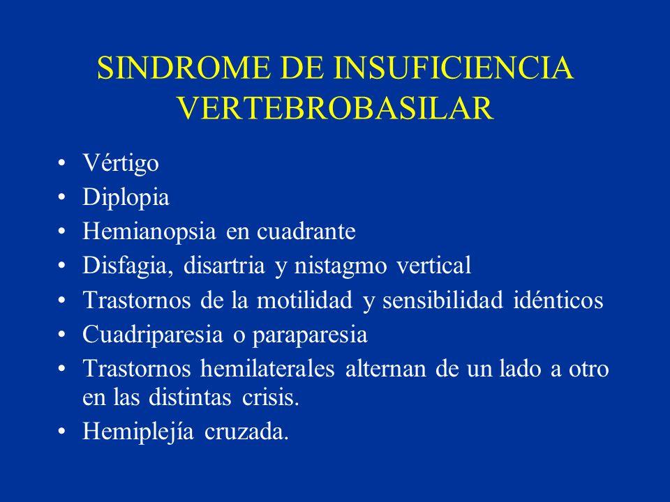 SINDROME DE INSUFICIENCIA VERTEBROBASILAR Vértigo Diplopia Hemianopsia en cuadrante Disfagia, disartria y nistagmo vertical Trastornos de la motilidad