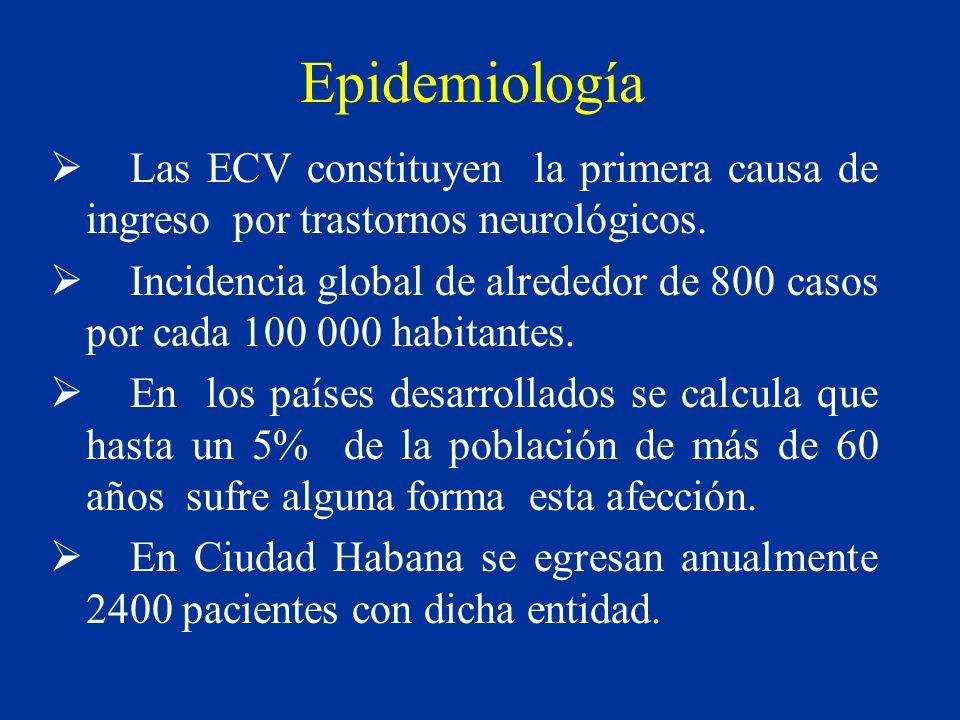 Epidemiología Las ECV constituyen la primera causa de ingreso por trastornos neurológicos. Incidencia global de alrededor de 800 casos por cada 100 00