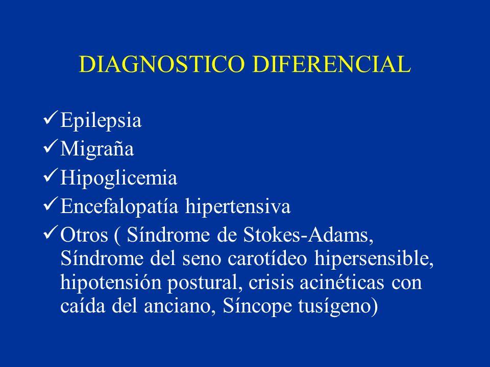 DIAGNOSTICO DIFERENCIAL Epilepsia Migraña Hipoglicemia Encefalopatía hipertensiva Otros ( Síndrome de Stokes-Adams, Síndrome del seno carotídeo hipers
