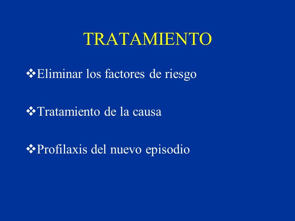 TRATAMIENTO Eliminar los factores de riesgo Tratamiento de la causa Profilaxis del nuevo episodio