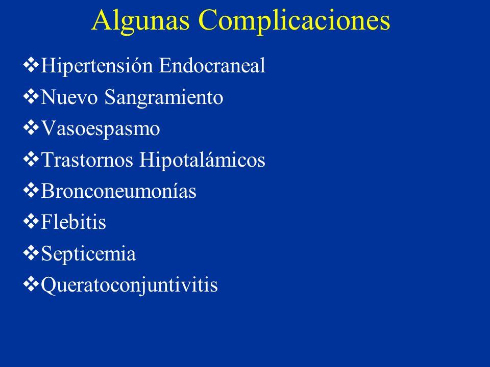 Algunas Complicaciones Hipertensión Endocraneal Nuevo Sangramiento Vasoespasmo Trastornos Hipotalámicos Bronconeumonías Flebitis Septicemia Queratocon