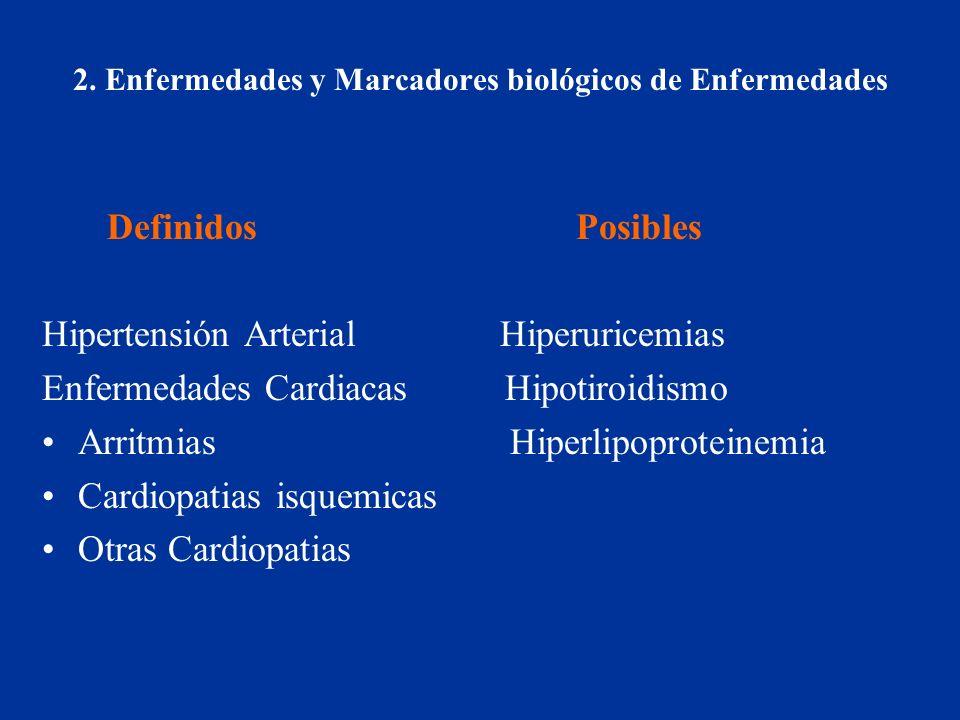 2. Enfermedades y Marcadores biológicos de Enfermedades Definidos Posibles Hipertensión Arterial Hiperuricemias Enfermedades Cardiacas Hipotiroidismo