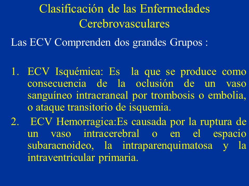 Clasificación de las Enfermedades Cerebrovasculares Las ECV Comprenden dos grandes Grupos : 1.ECV Isquémica: Es la que se produce como consecuencia de