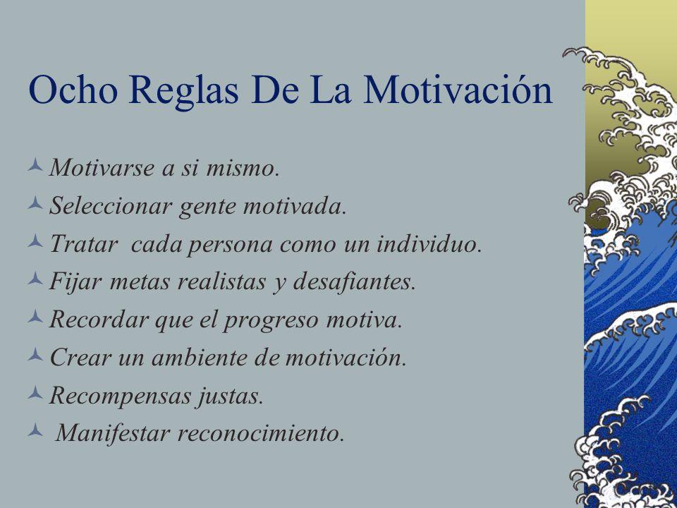 Ocho Reglas De La Motivación Motivarse a si mismo. Seleccionar gente motivada. Tratar cada persona como un individuo. Fijar metas realistas y desafian