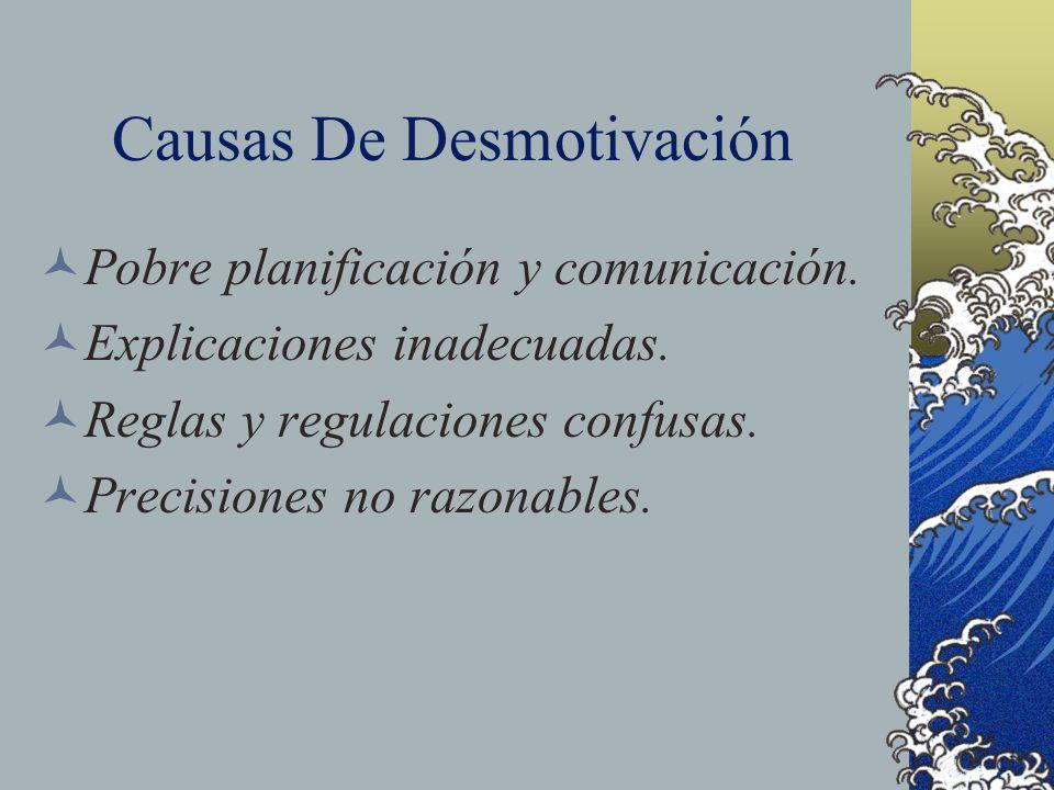 Causas De Desmotivación Pobre planificación y comunicación. Explicaciones inadecuadas. Reglas y regulaciones confusas. Precisiones no razonables.