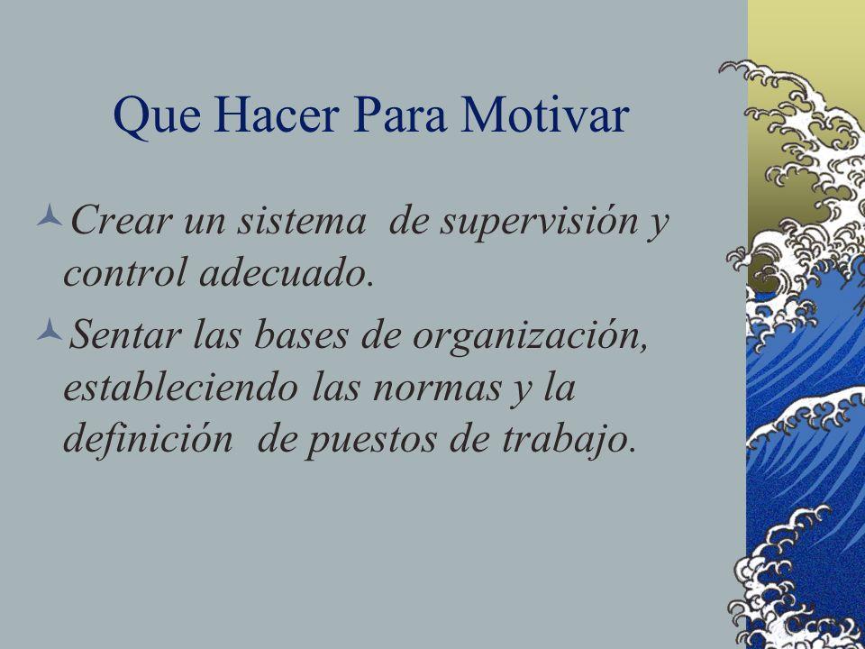 Que Hacer Para Motivar Crear un sistema de supervisión y control adecuado. Sentar las bases de organización, estableciendo las normas y la definición