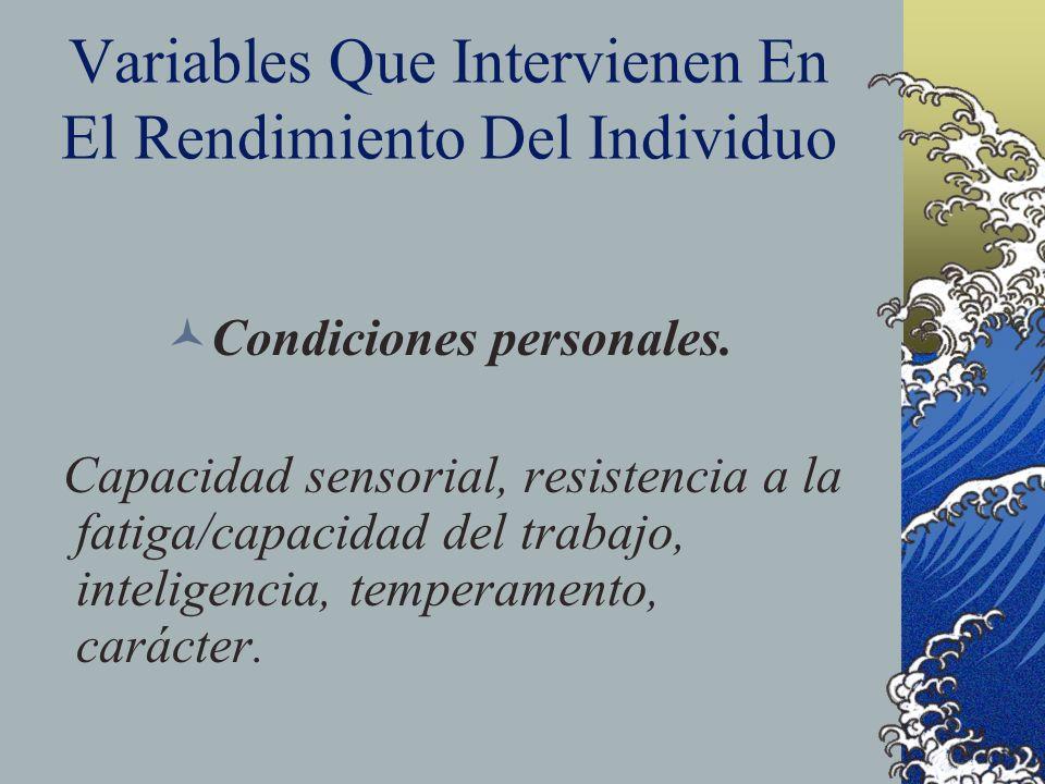 Variables Que Intervienen En El Rendimiento Del Individuo Condiciones personales. Capacidad sensorial, resistencia a la fatiga/capacidad del trabajo,