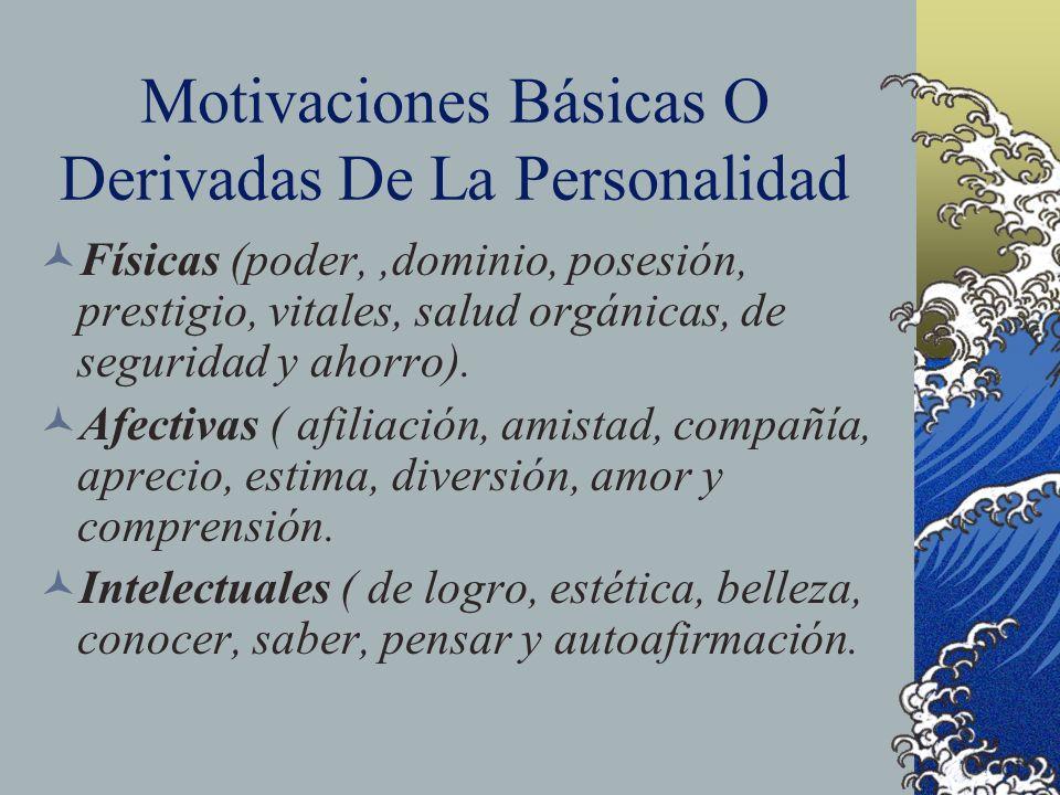 Motivaciones Básicas O Derivadas De La Personalidad Físicas (poder,,dominio, posesión, prestigio, vitales, salud orgánicas, de seguridad y ahorro). Af