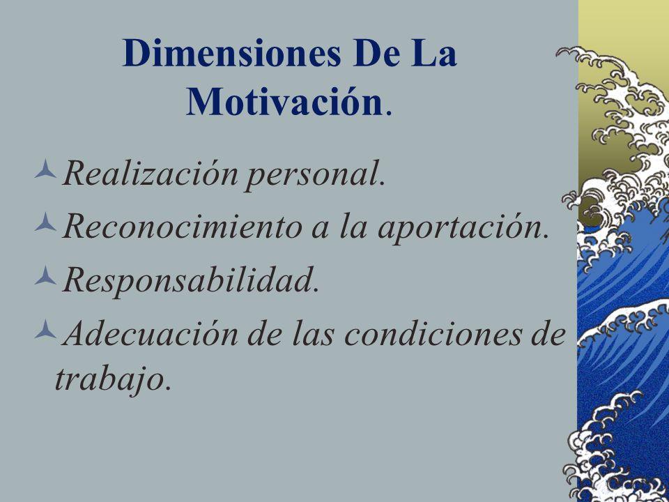 Dimensiones De La Motivación. Realización personal. Reconocimiento a la aportación. Responsabilidad. Adecuación de las condiciones de trabajo.