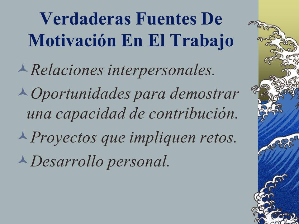 Verdaderas Fuentes De Motivación En El Trabajo Relaciones interpersonales. Oportunidades para demostrar una capacidad de contribución. Proyectos que i