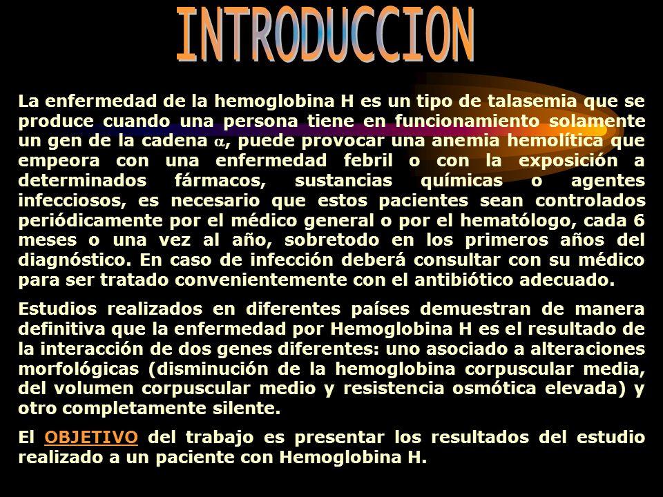 La enfermedad de la hemoglobina H es un tipo de talasemia que se produce cuando una persona tiene en funcionamiento solamente un gen de la cadena, pue